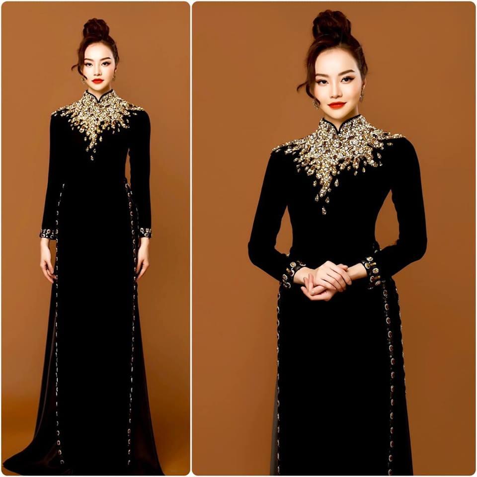 áo dài bà sui nhung đen đẹp kết pha lê cổ