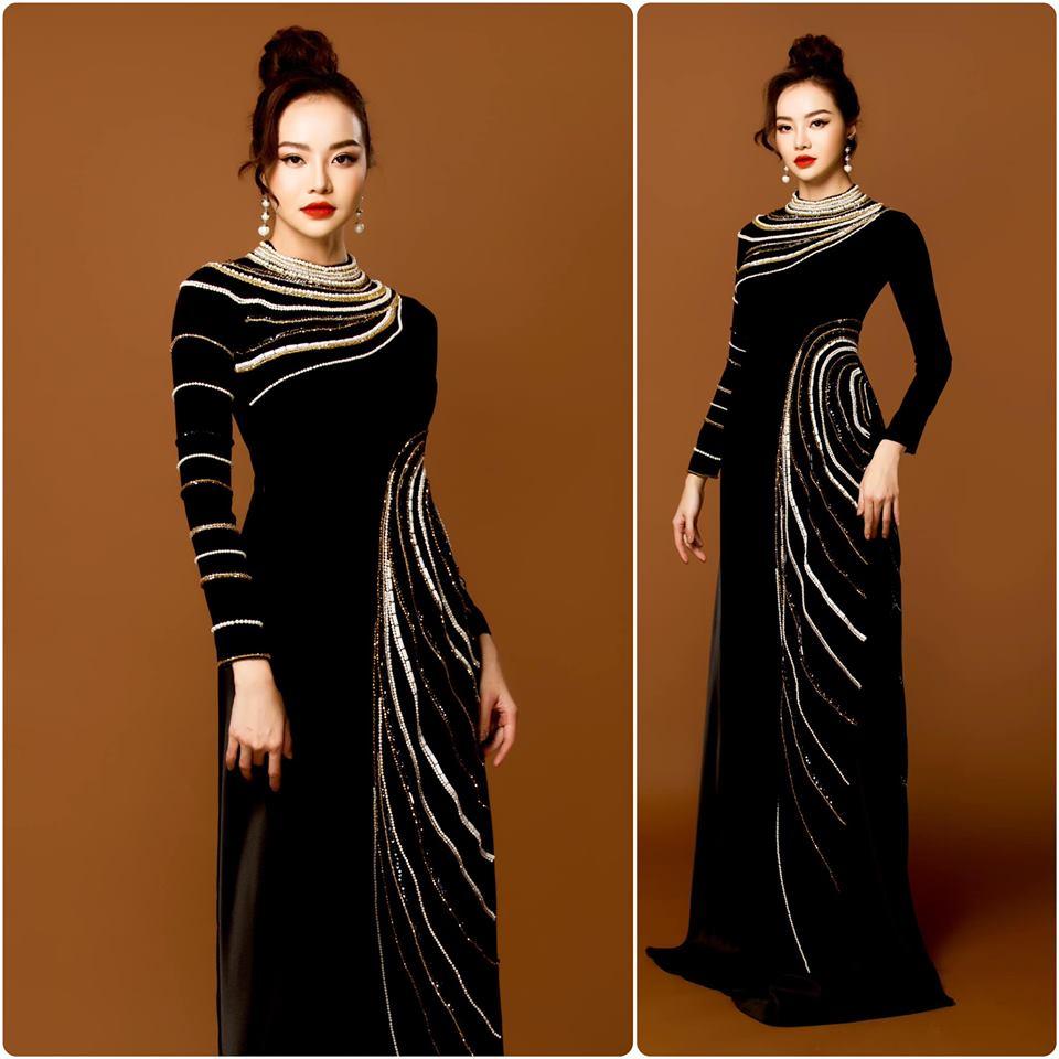 áo dài bà sui nhưng đen kết ngọc sang trọng