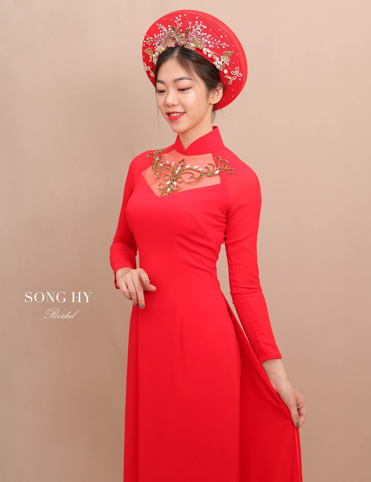 áo dài cô dâu đỏ đẹp 2019