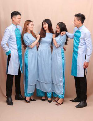 áo dài bưng quả xanh biển phối xanh mint 1