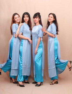 áo dài phụ dâu xanh biển phối xanh mint
