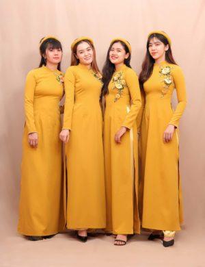 áo dài bưng quả vàng chanh truyền thống cao cấp 1