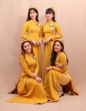 áo dài bưng quả vàng chanh truyền thống cao cấp